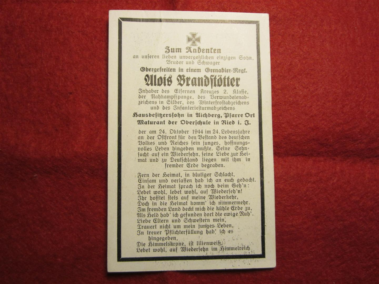 WW2 German WH Death Notice