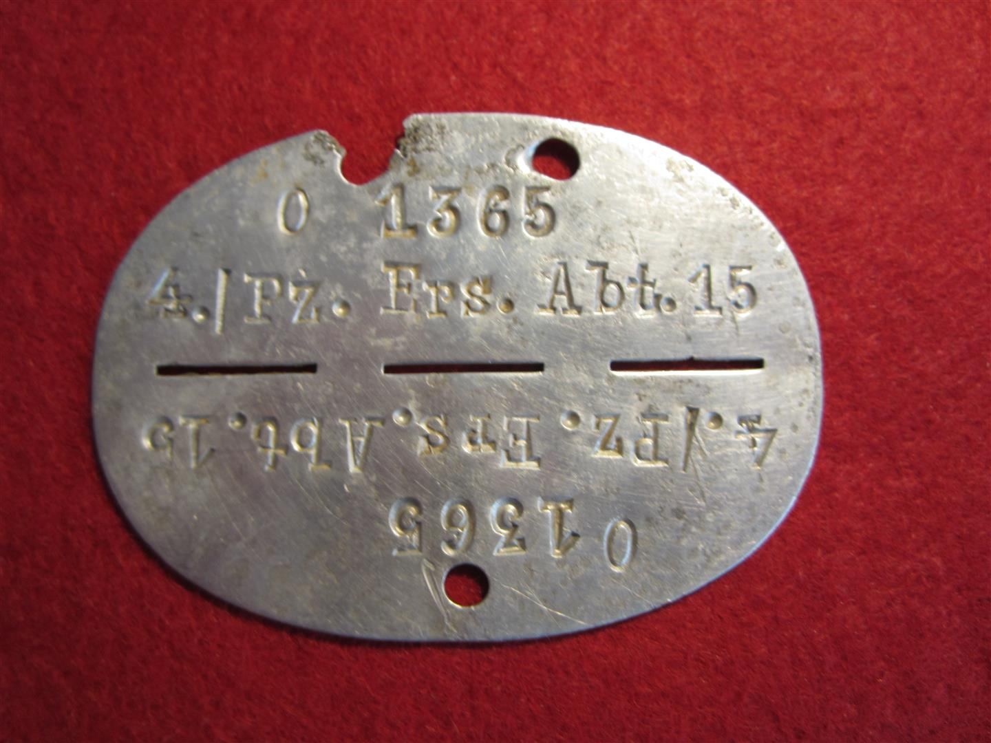 WW2 WH Panzer Dog Tag, Aluminium