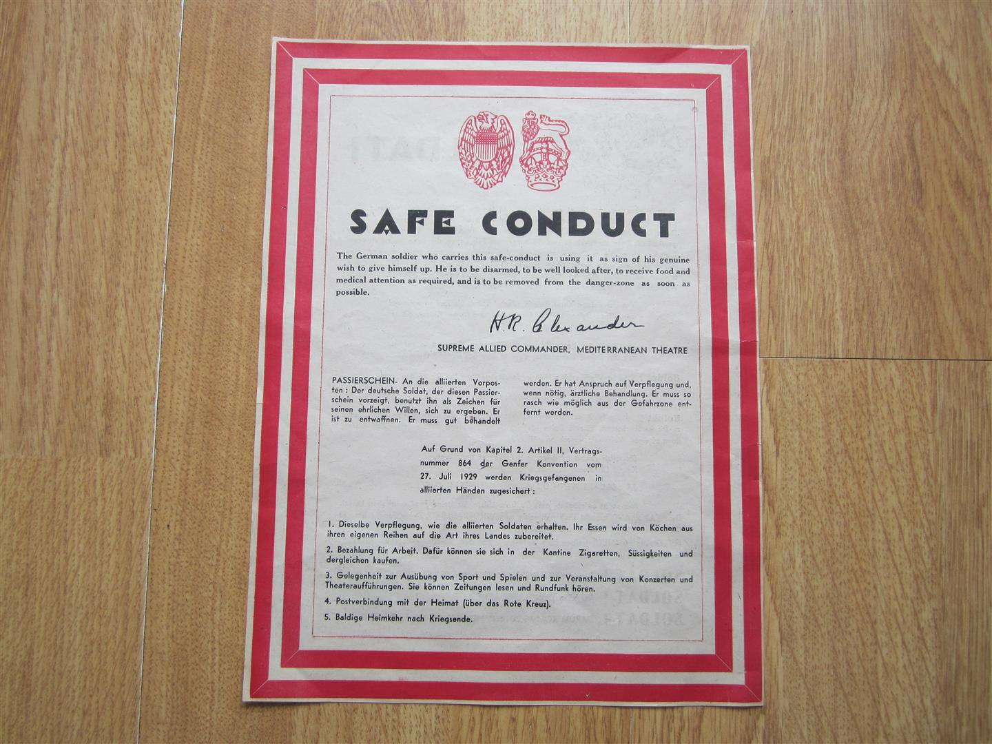 WW2 Allied Safe Conduct Pass